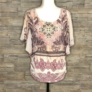 Espresso cream and pink paisley flowy top